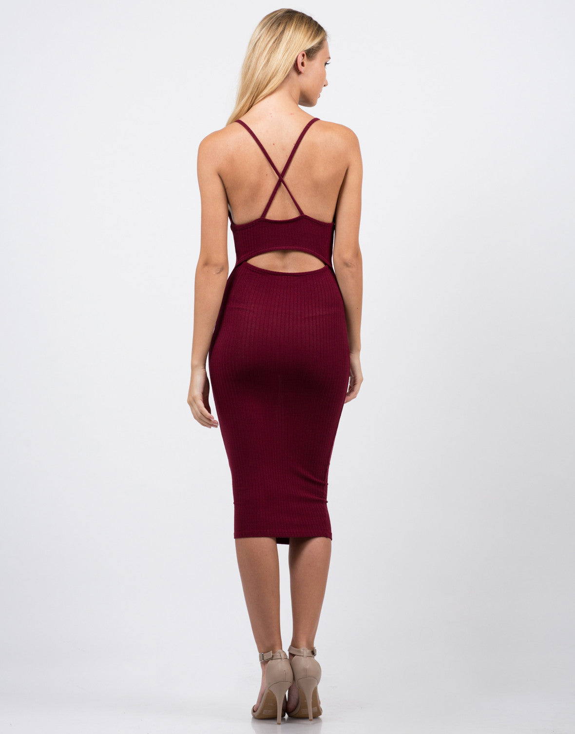 Cross Open Back Midi Dress