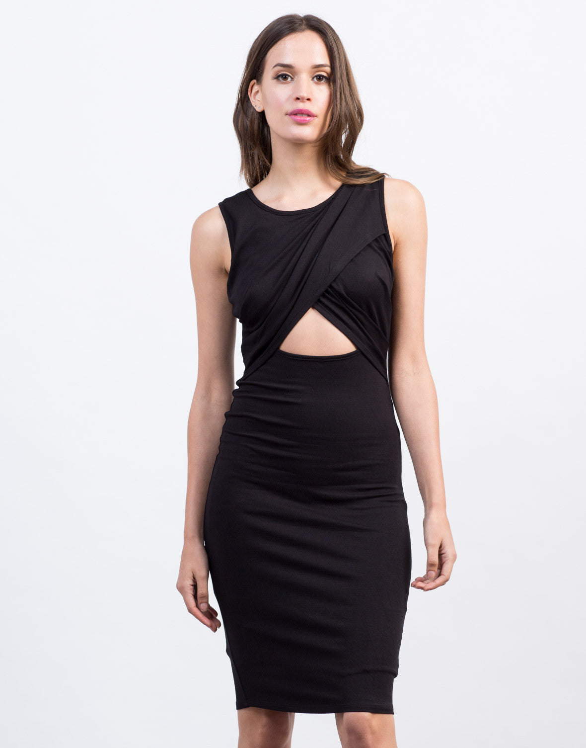 Front View of Crossover Midi Dress