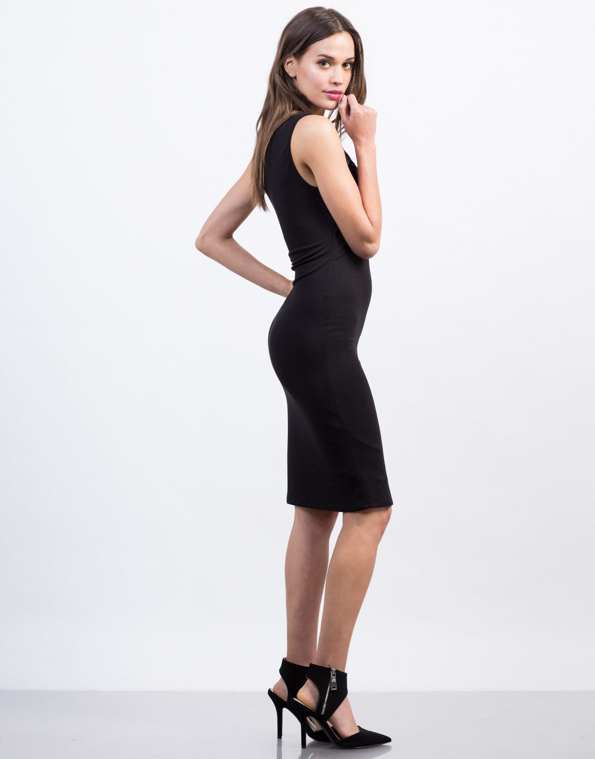 Side View of Crossover Midi Dress