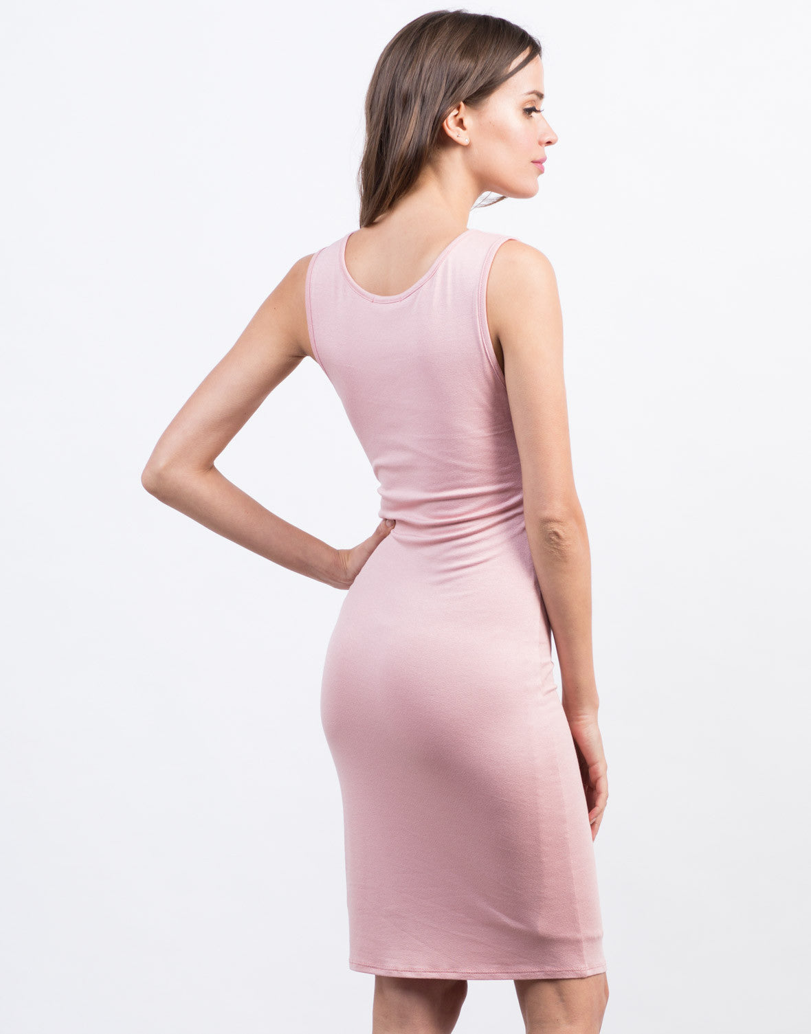 Back View of Crossover Midi Dress