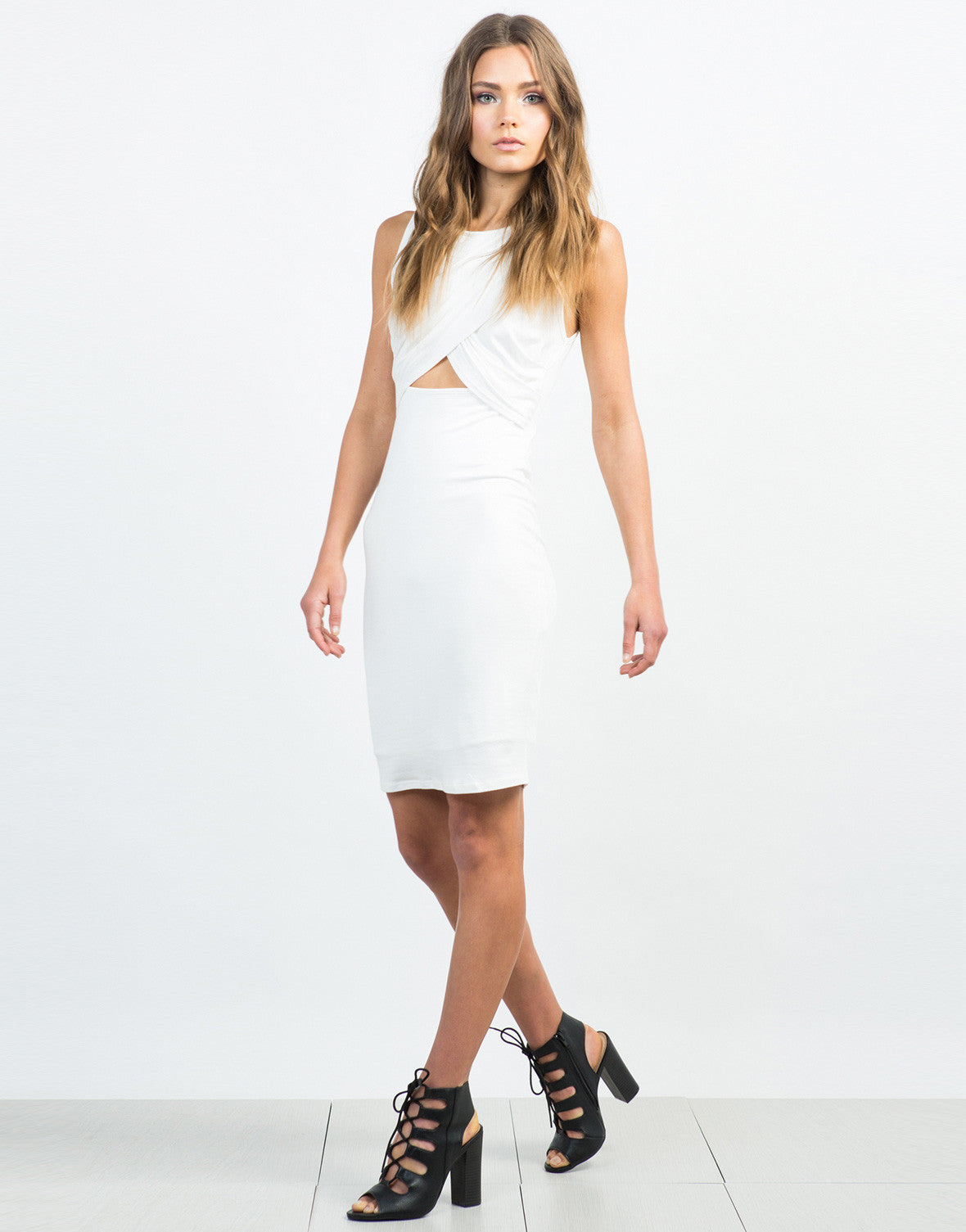 Front View of Crossover Midi Dress - Everything White