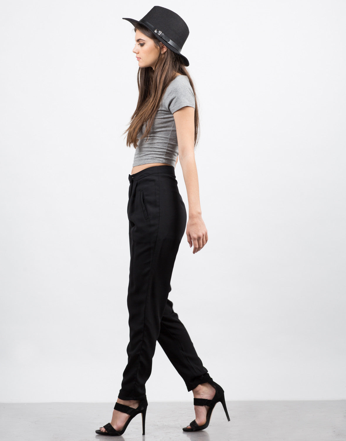Side View of Crossover Chiffon Pants