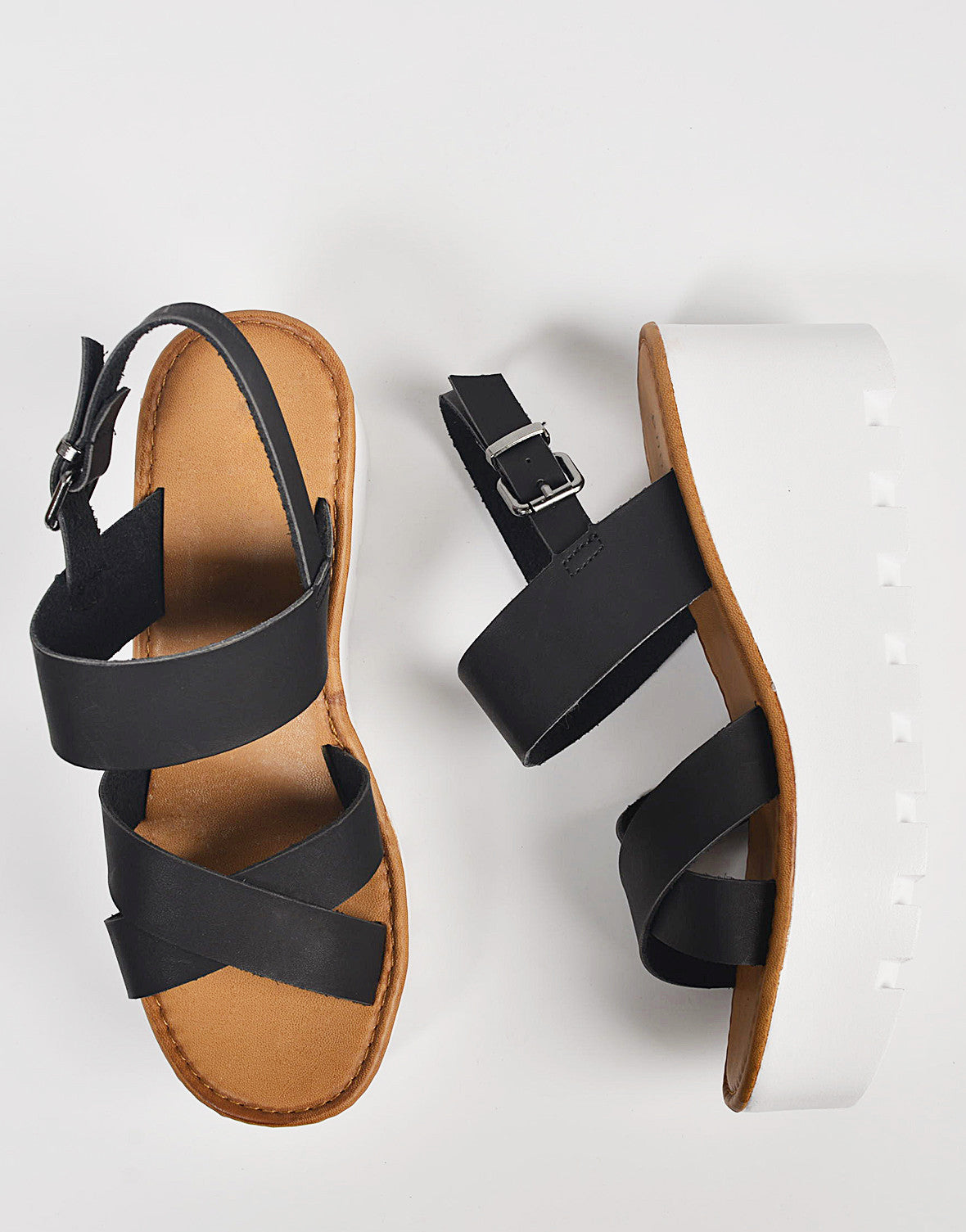 Top View of Crossover Slingback Wedge Sandals