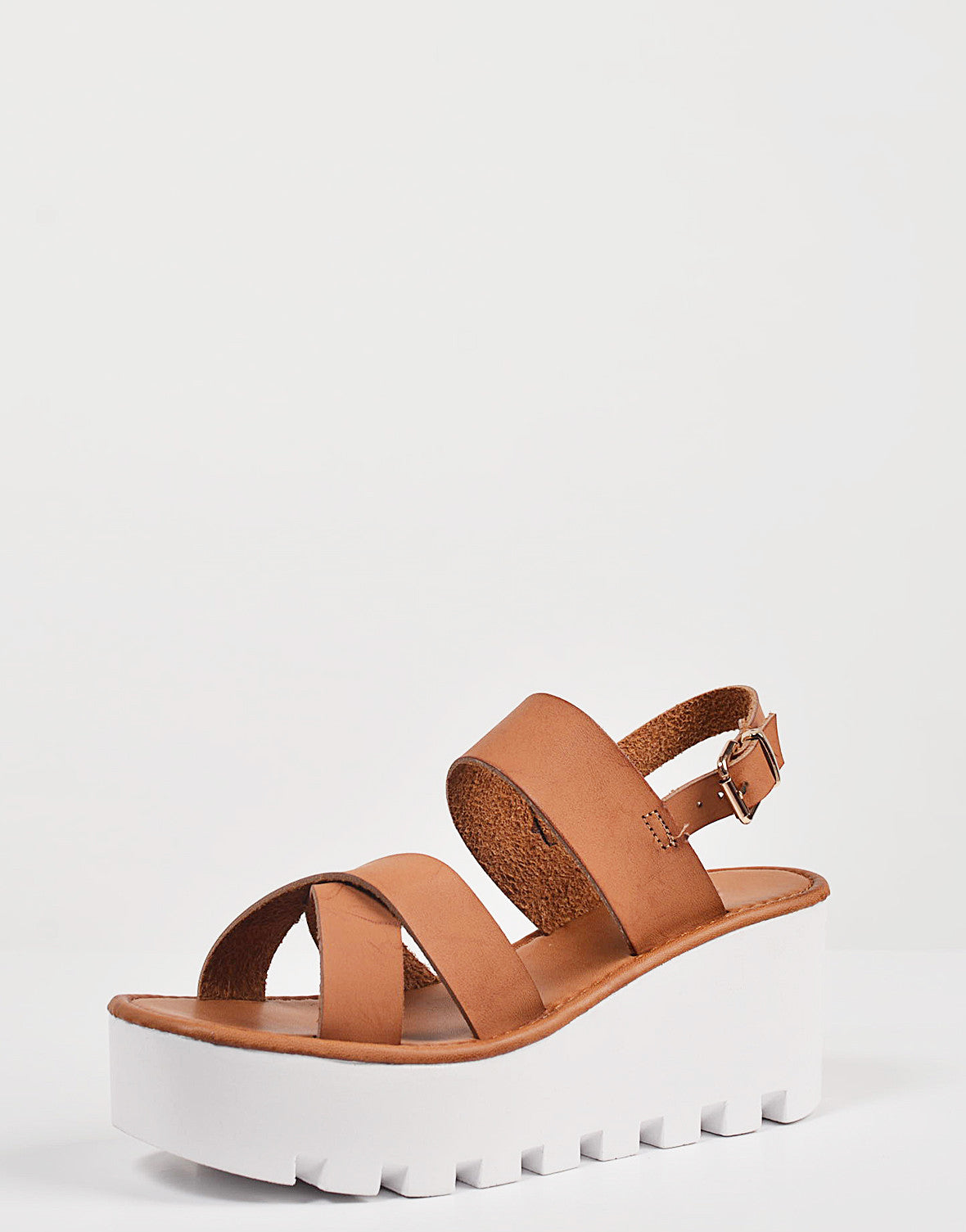 Detail of Crossover Slingback Wedge Sandals