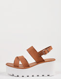 Side View of Crossover Slingback Wedge Sandals
