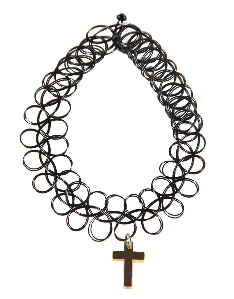 Cross Pendant Tattoo Choker - 2020AVE