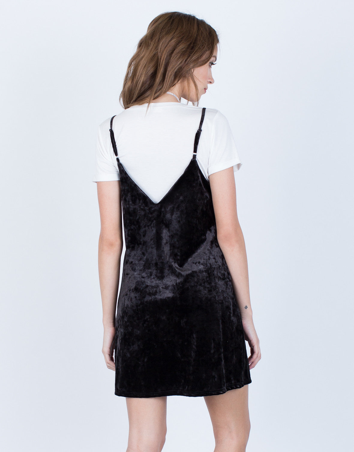 Back View of Crushed in Velvet Slip Dress