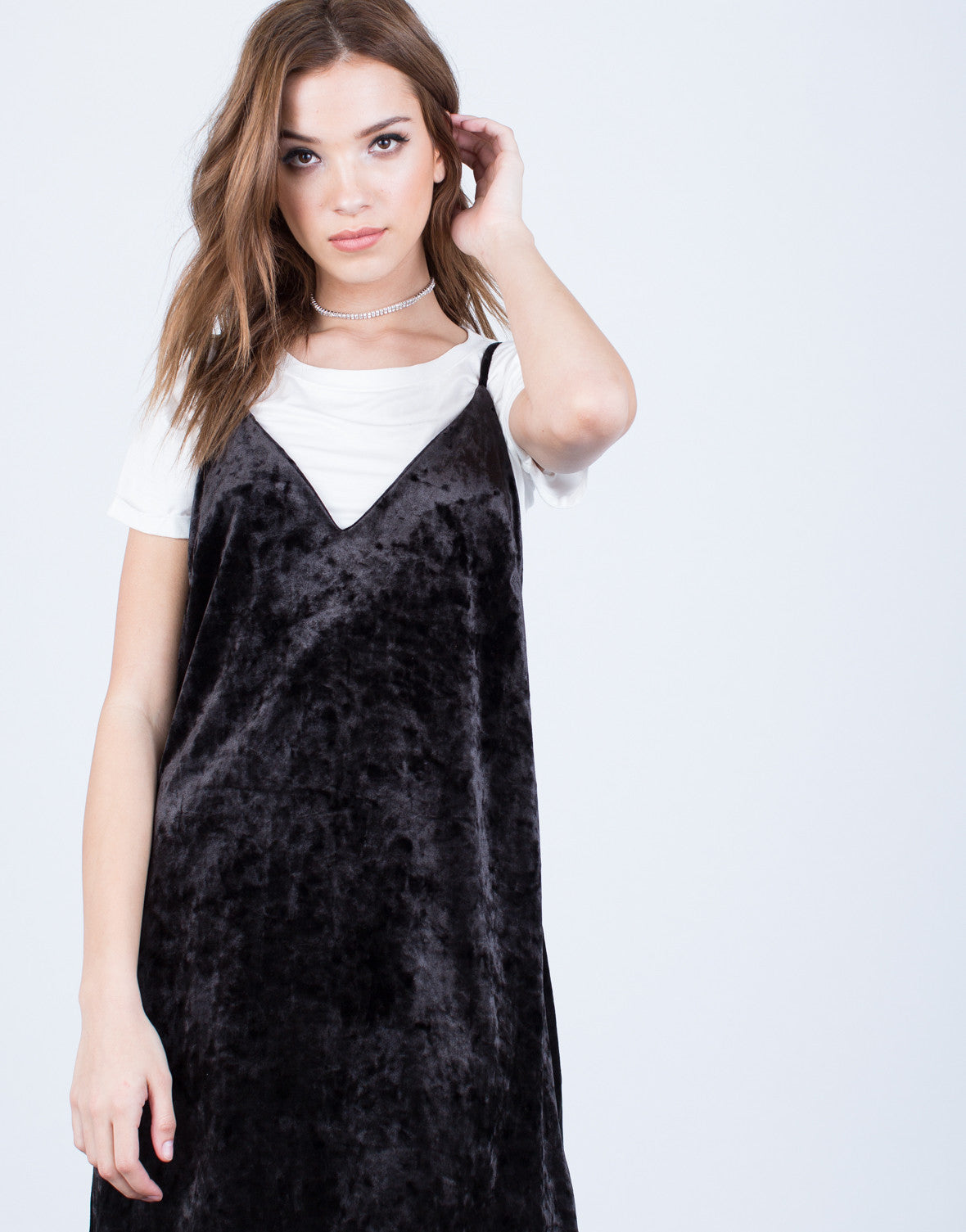 Detail of Crushed in Velvet Slip Dress