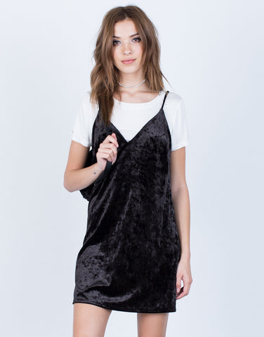Front View of Crushed in Velvet Slip Dress