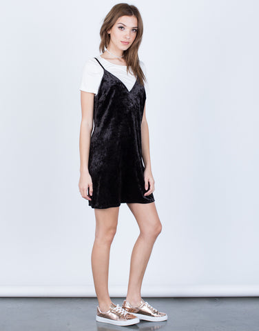 Side View of Crushed in Velvet Slip Dress