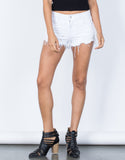 White Crystal Frayed Shorts - Front View