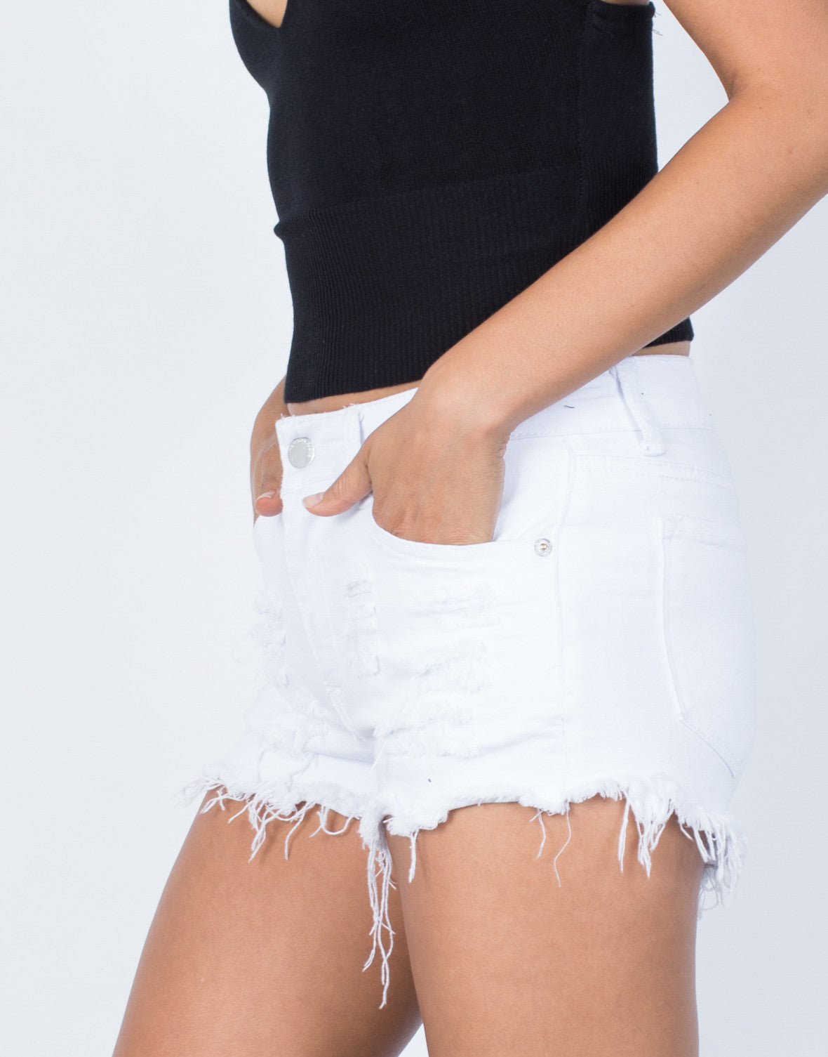 White Crystal Frayed Shorts - Detail