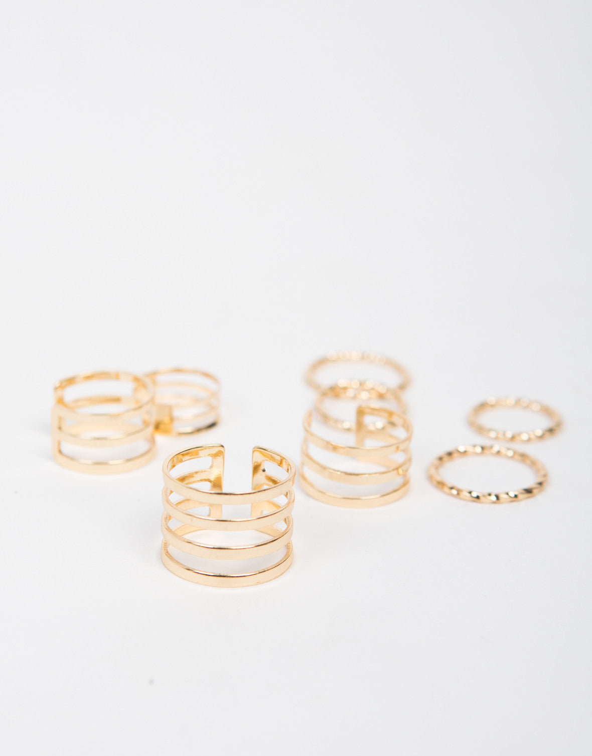Cuffed and Textured Ring Set