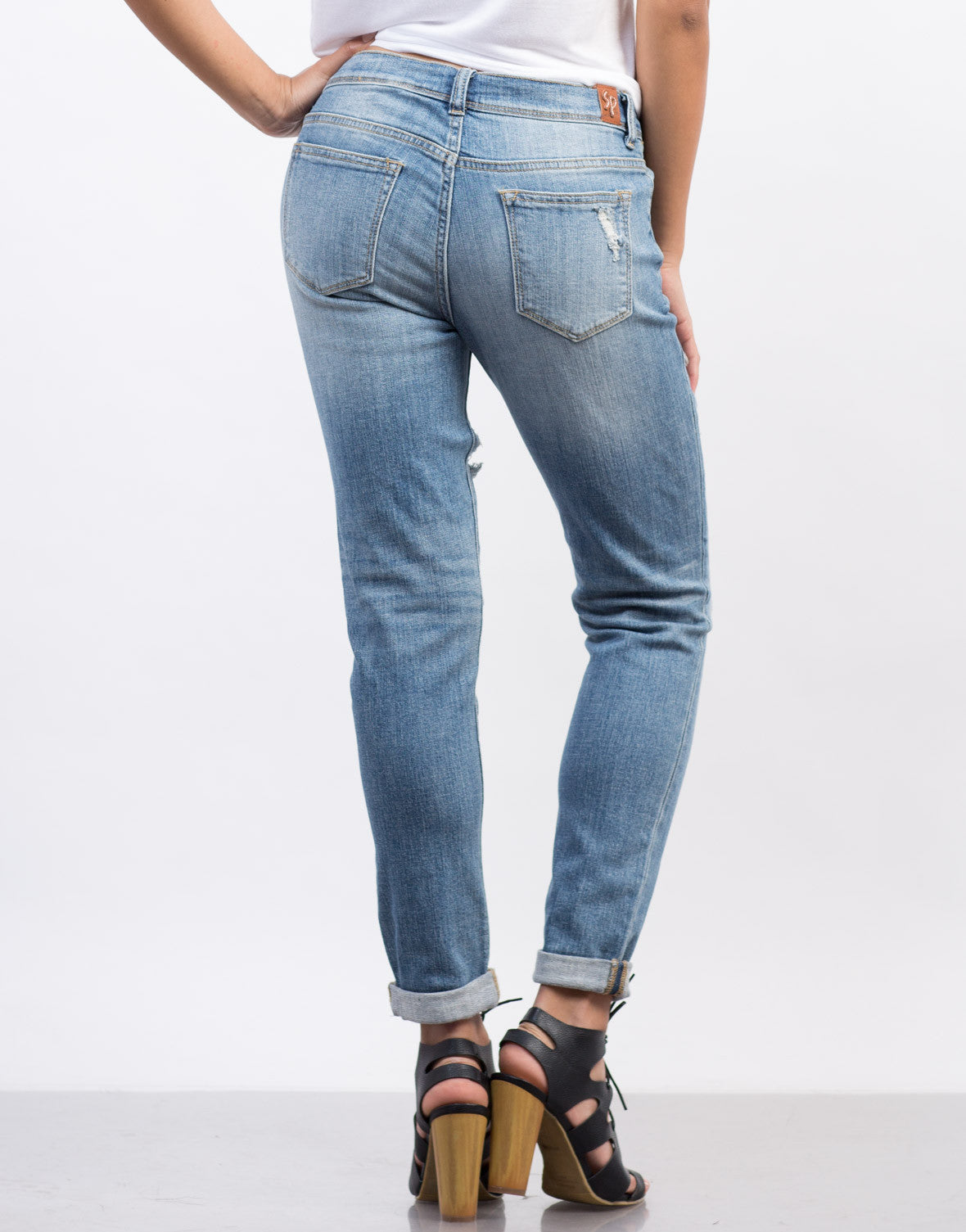 Back View of Cuffed Boyfriend Jeans