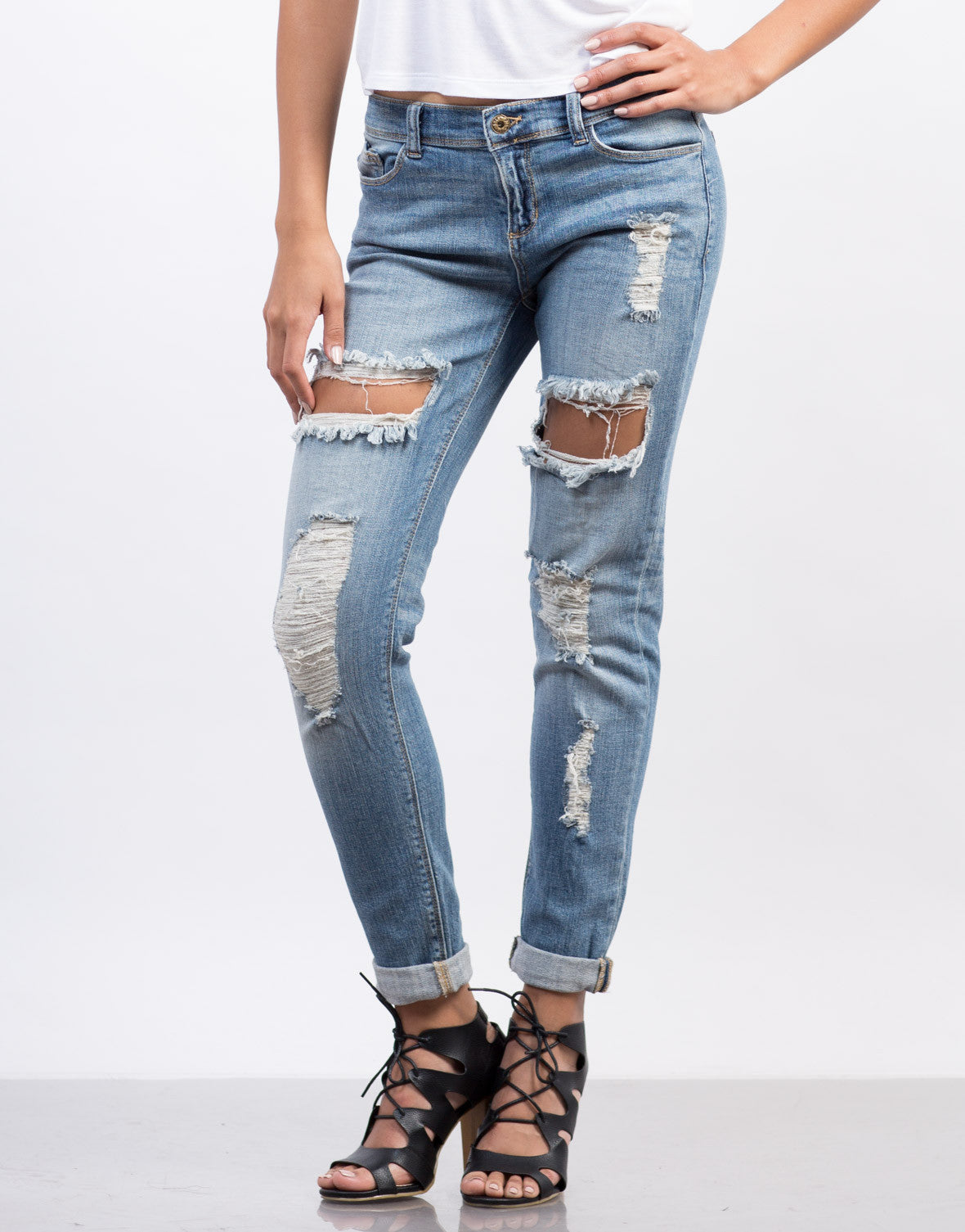 Front View of Cuffed Boyfriend Jeans