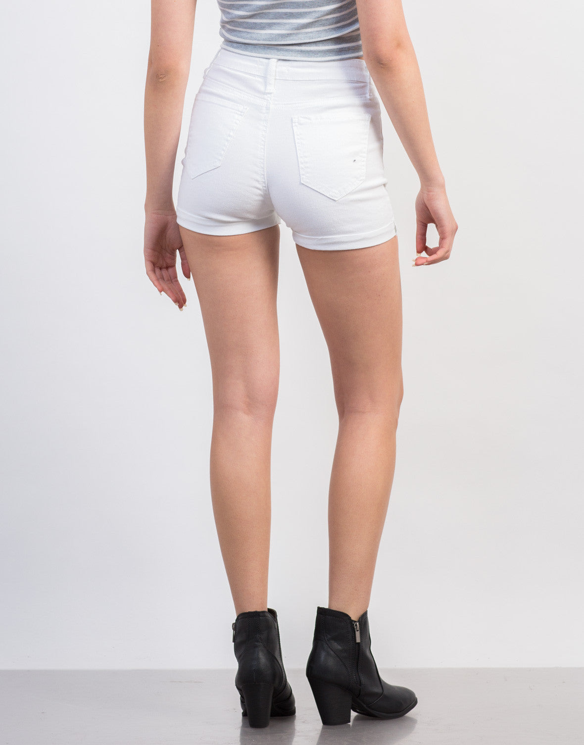 Cuffed High Waisted Denim Shorts - Sailor White Denim Shorts