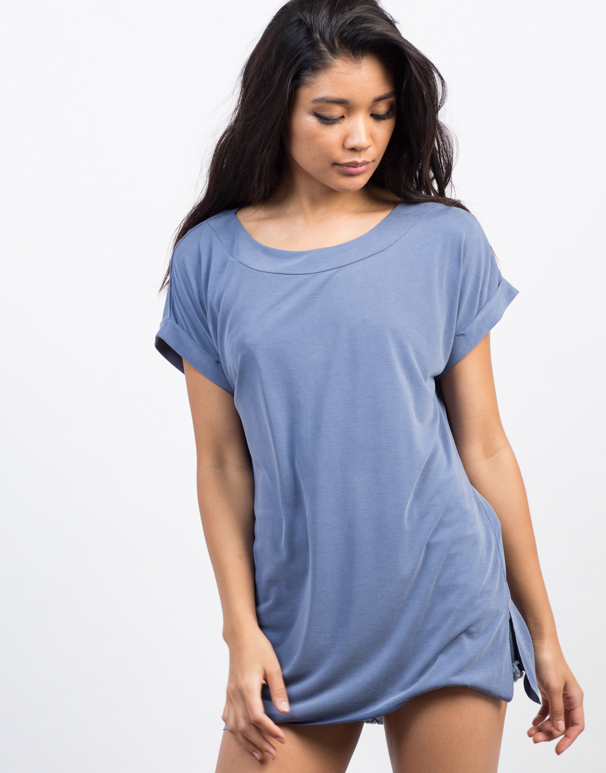 Cuffed Sleeves Lightweight Top