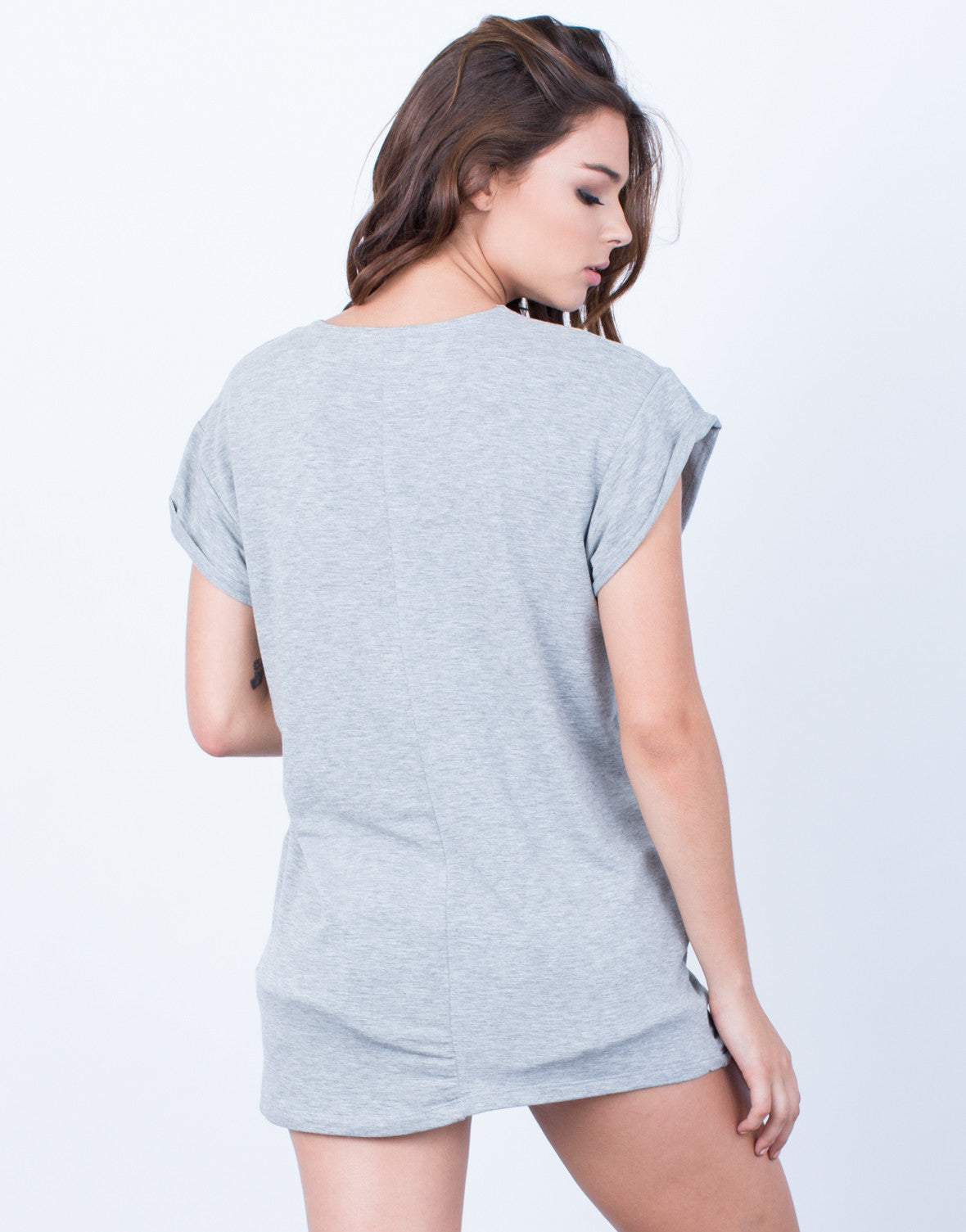 Back View of Cuffed Sleeves Top