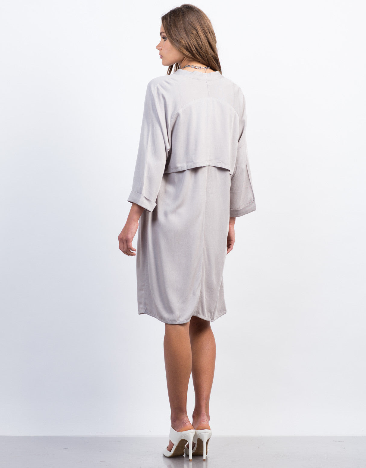 Back View of Cuffed Sleeves Trench Jacket