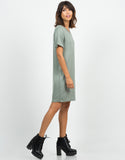 Side View of Cuffed Sleeves Boyfriend Tunic Tee