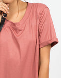Detail of Cuffed Sleeves Boyfriend Tunic Tee
