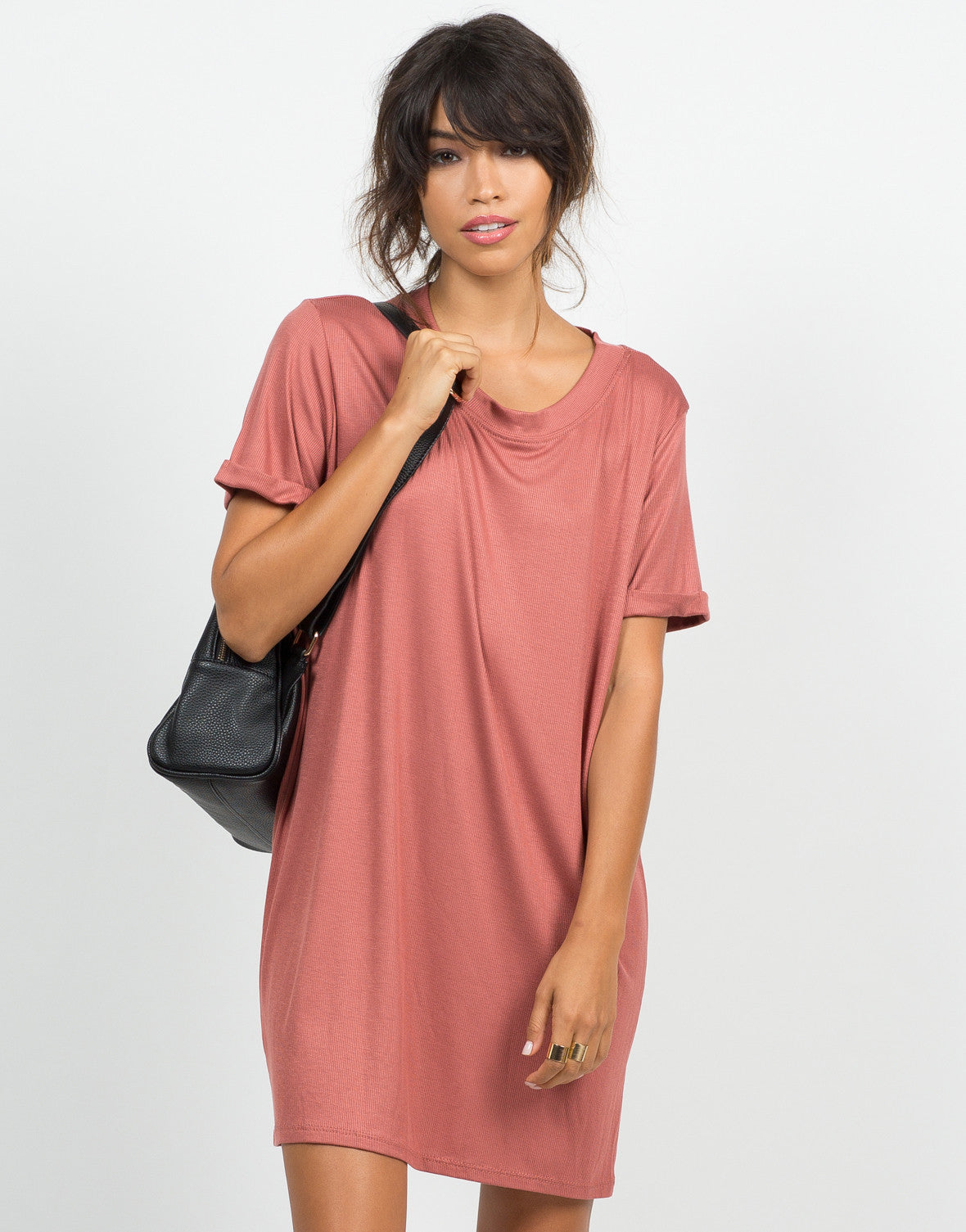 Front View of Cuffed Sleeves Boyfriend Tunic Tee