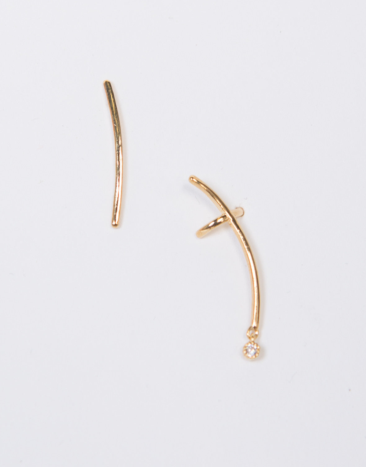Curved Bar Earring Cuff Set