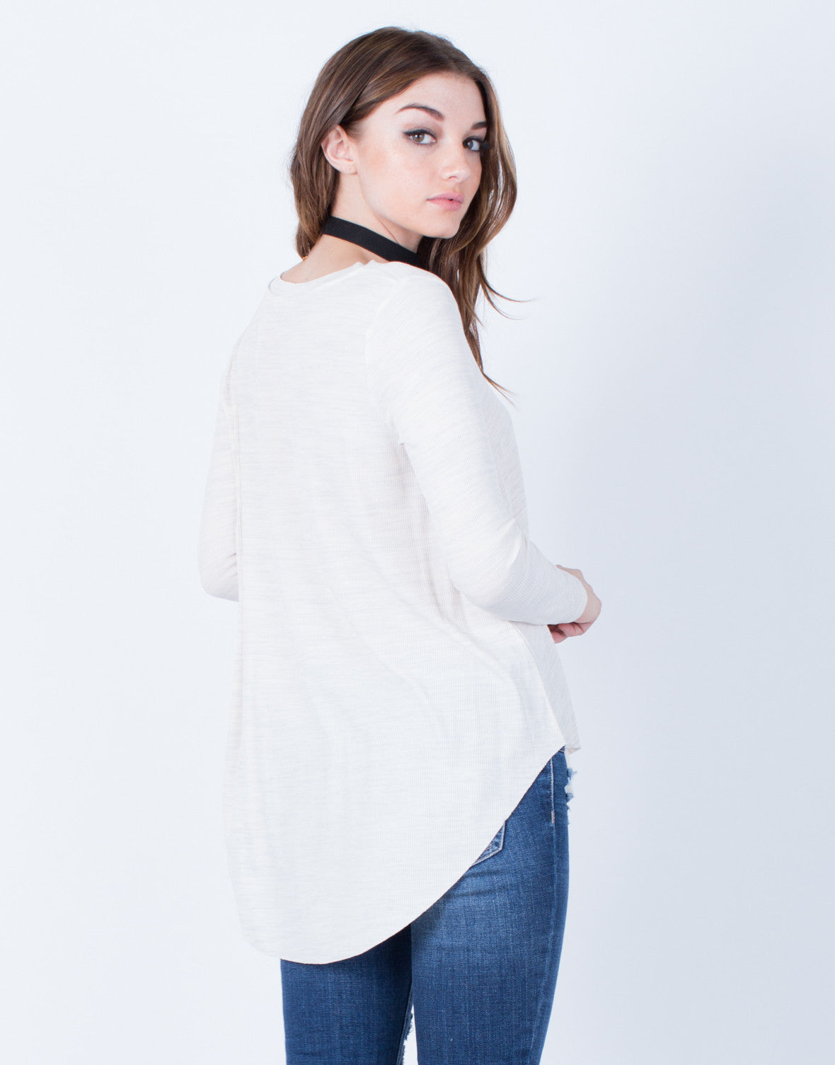 Back View of Curved Hem Knit Top