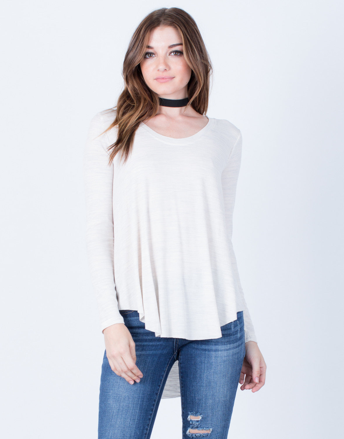 Front View of Curved Hem Knit Top