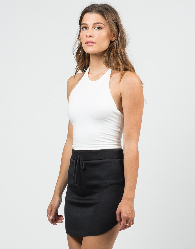 Front View of Curved Hem Skirt