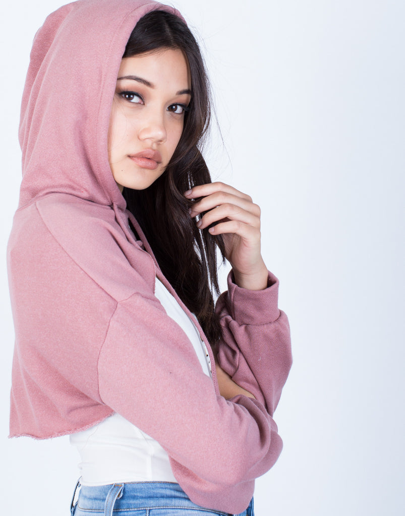 Detail of Cut it Out Cropped Hoodie