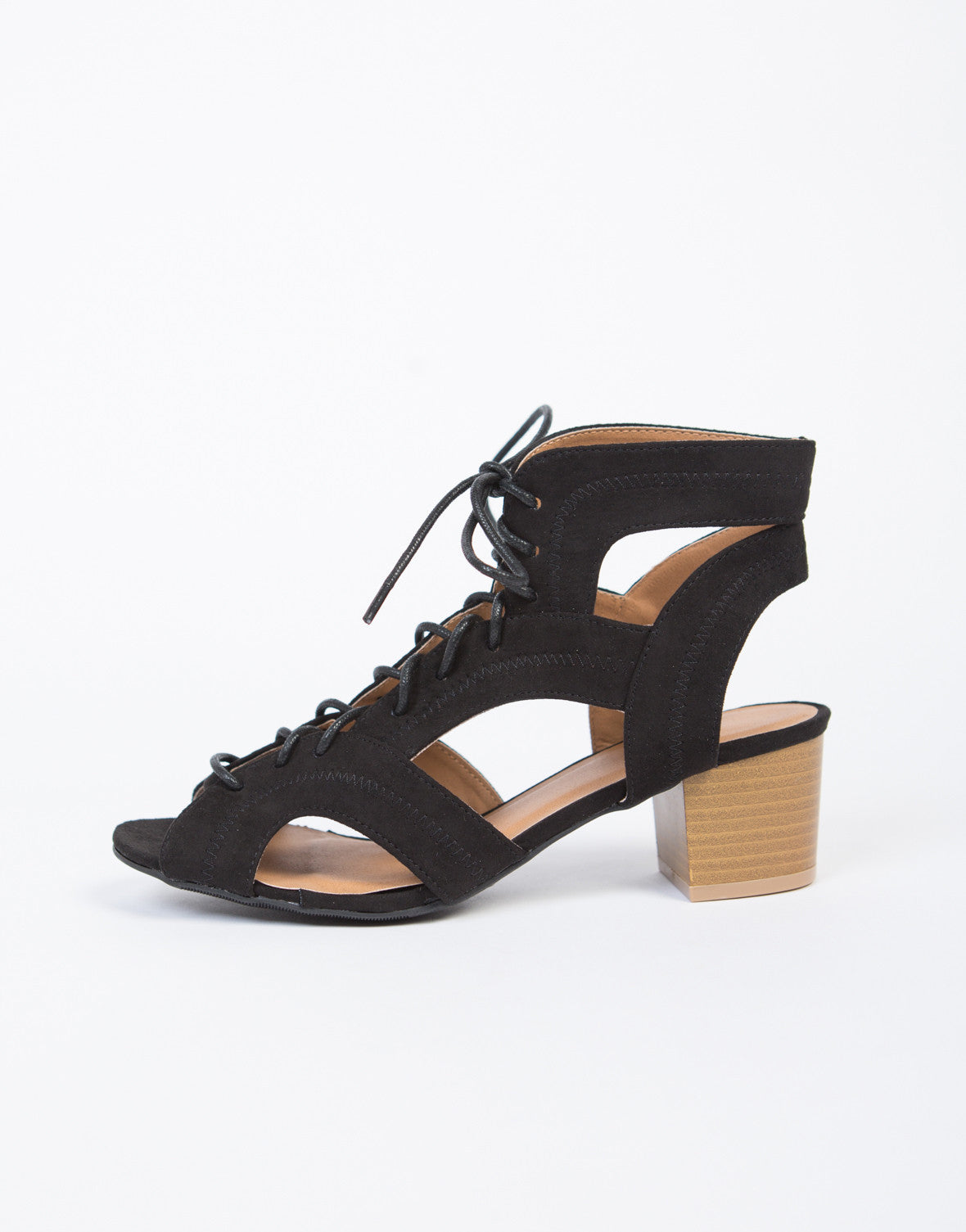 Cut Out Block Heel Sandals - 2020AVE