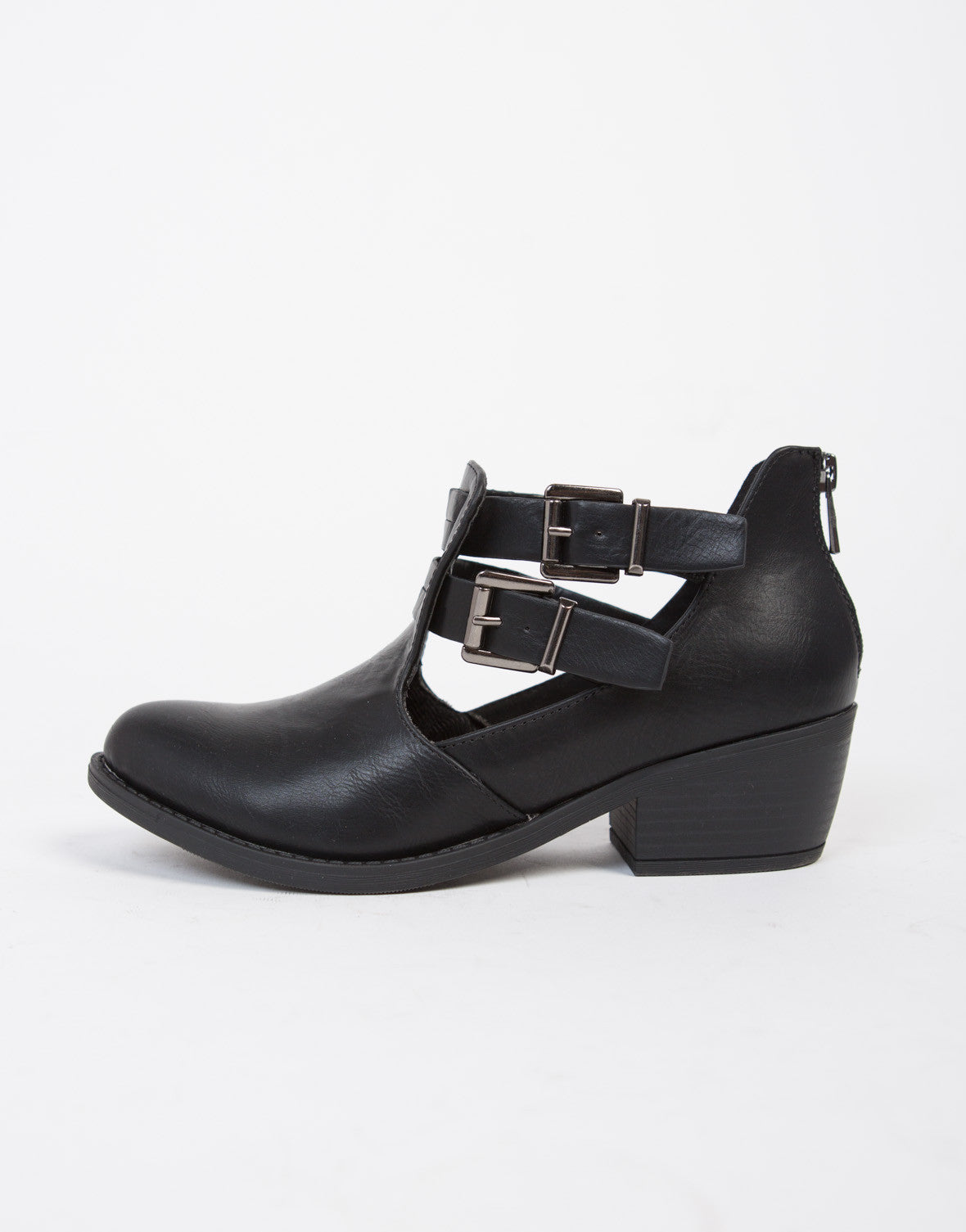 Cut Out Buckled Booties - 2020AVE
