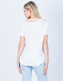 Back View of Cut Out Distressed Tee
