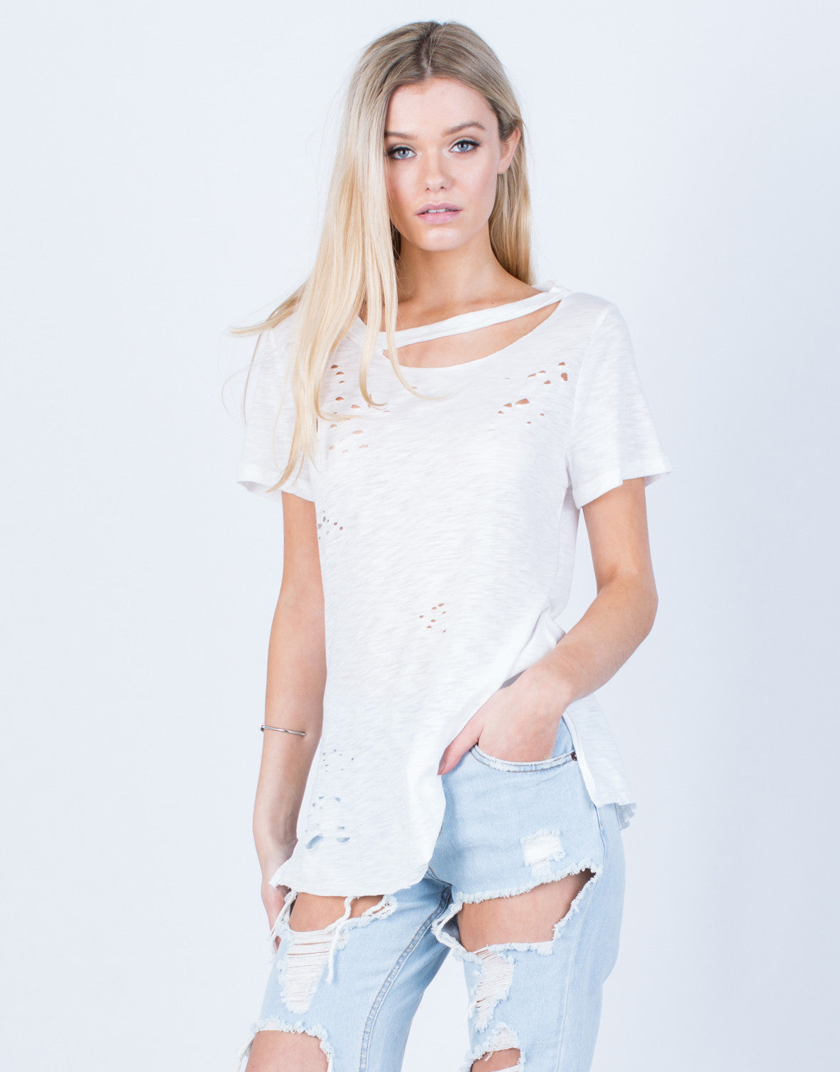 Front View of Cut Out Distressed Tee