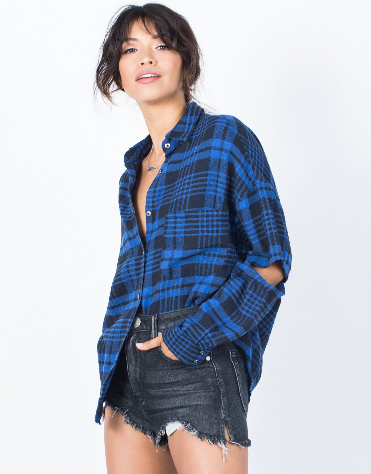 Cut Out Plaid Top - 2020AVE