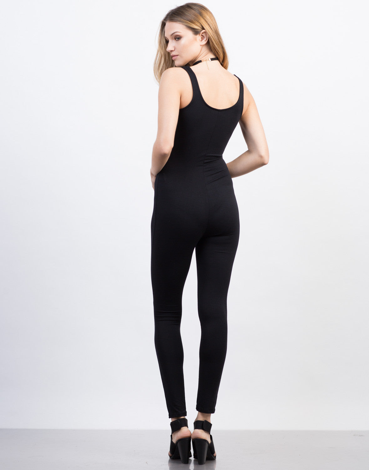 Back View of Cut Out Spandex Jumpsuit