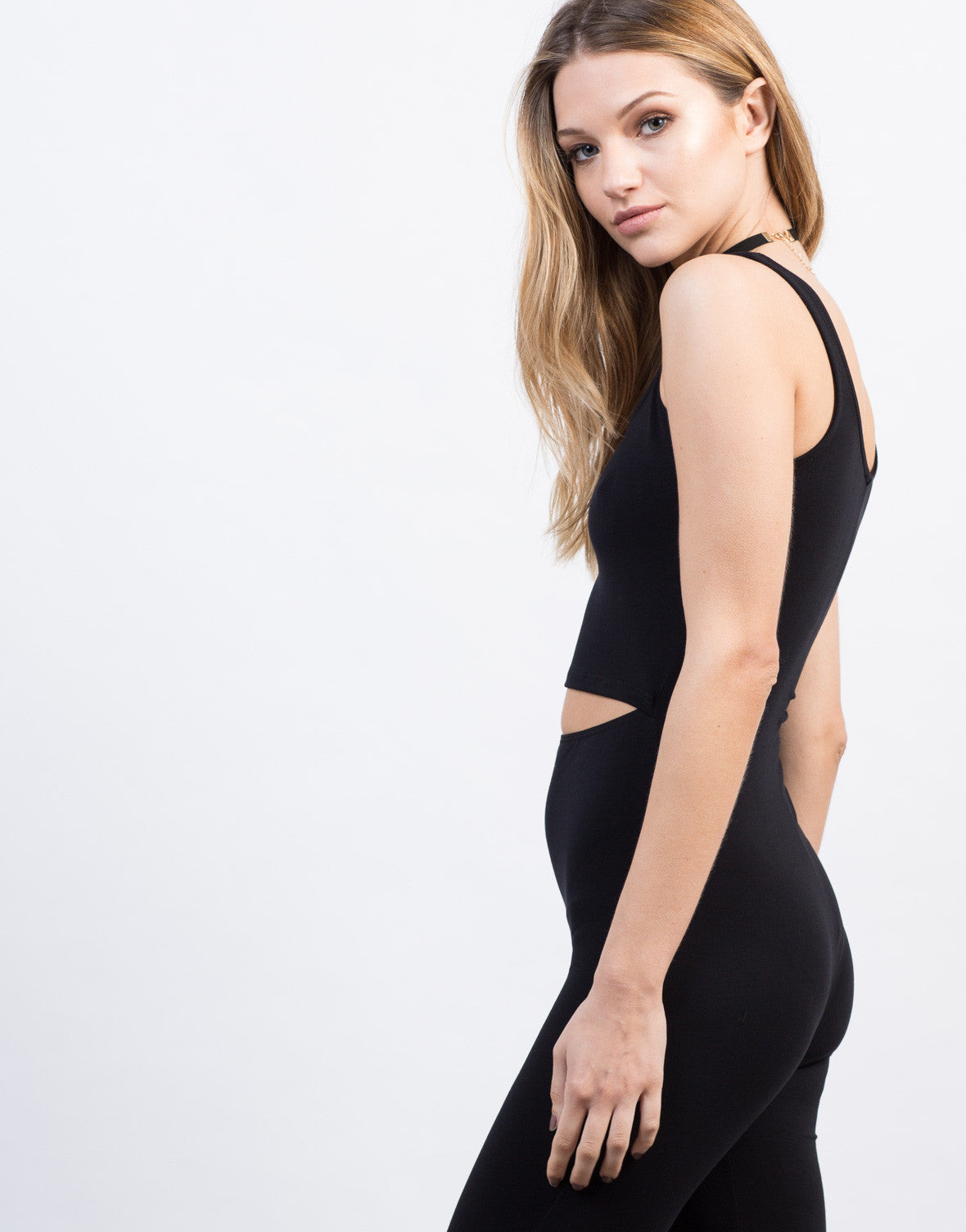 Detail of Cut Out Spandex Jumpsuit