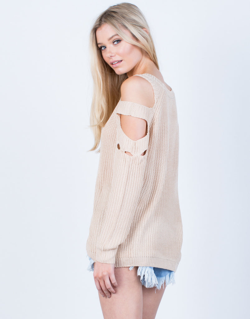 Back View of Cut Out Sweater Top