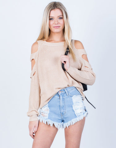 Front View of Cut Out Sweater Top