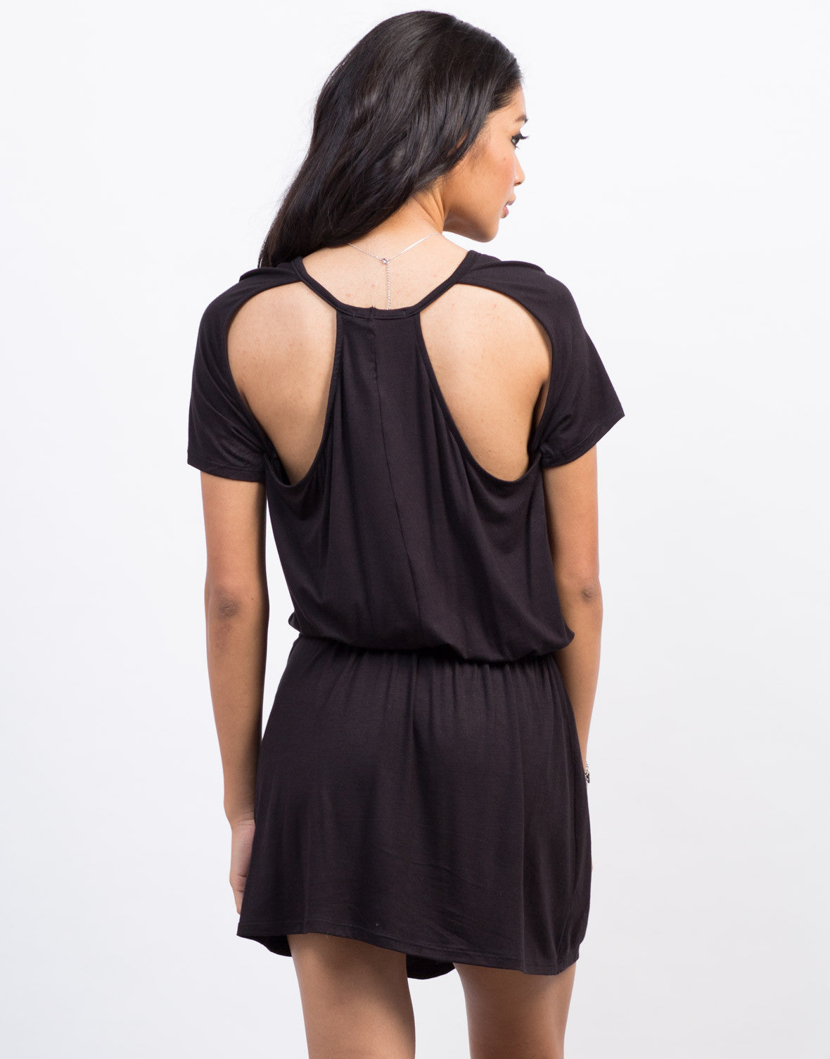 Back View of Cut Out T-Shirt Dress