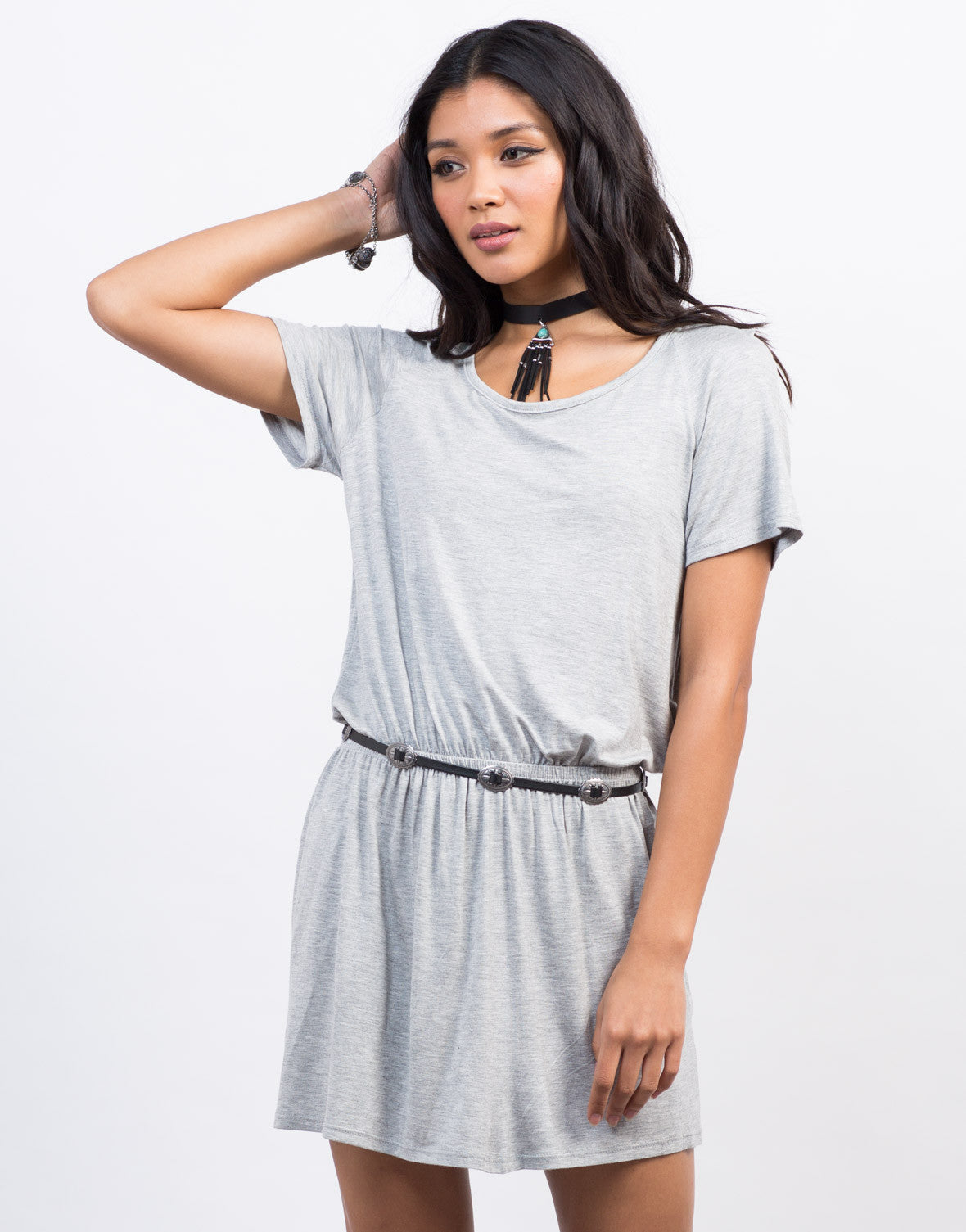 Front View of Cut Out T-Shirt Dress