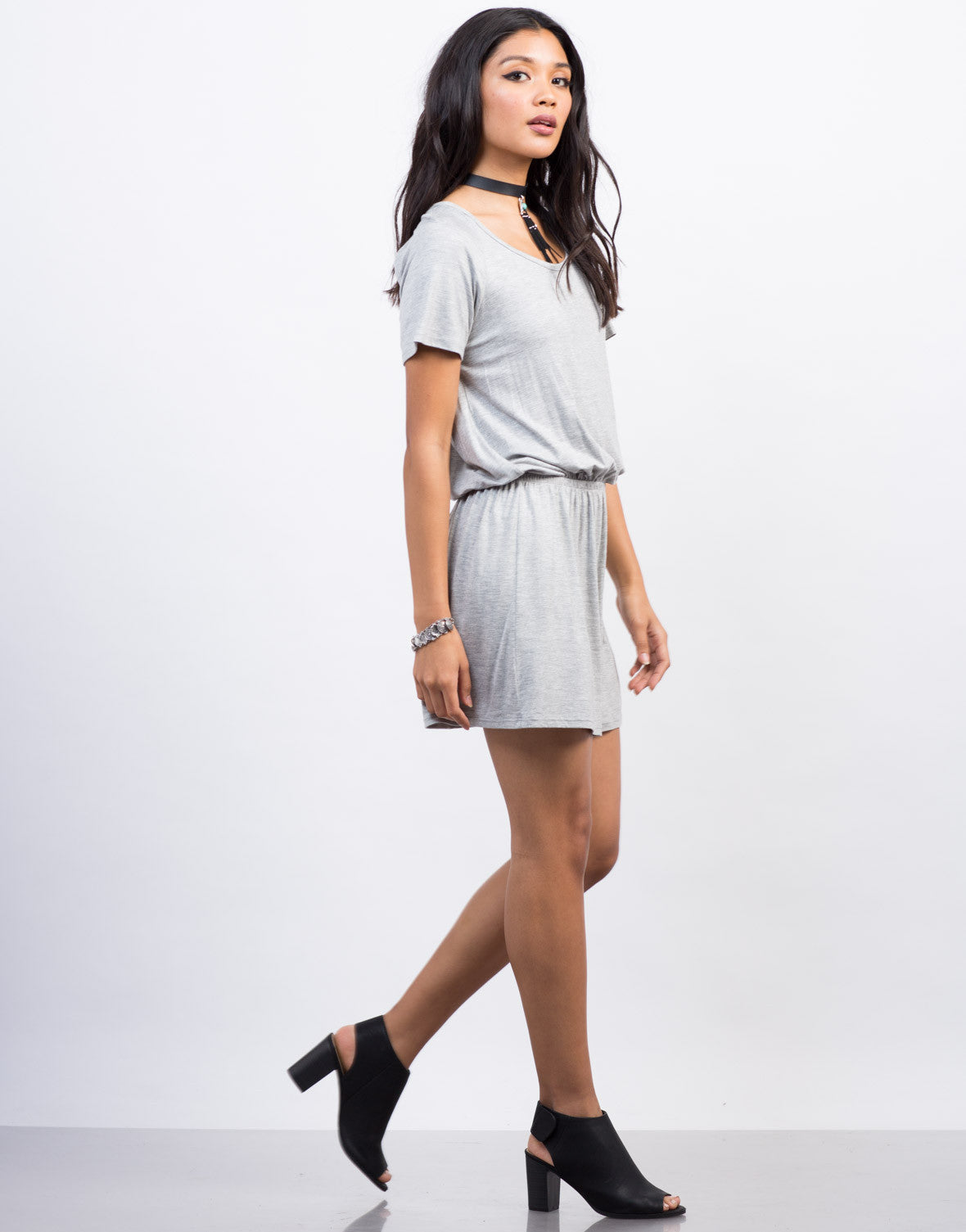 Side View of Cut Out T-Shirt Dress