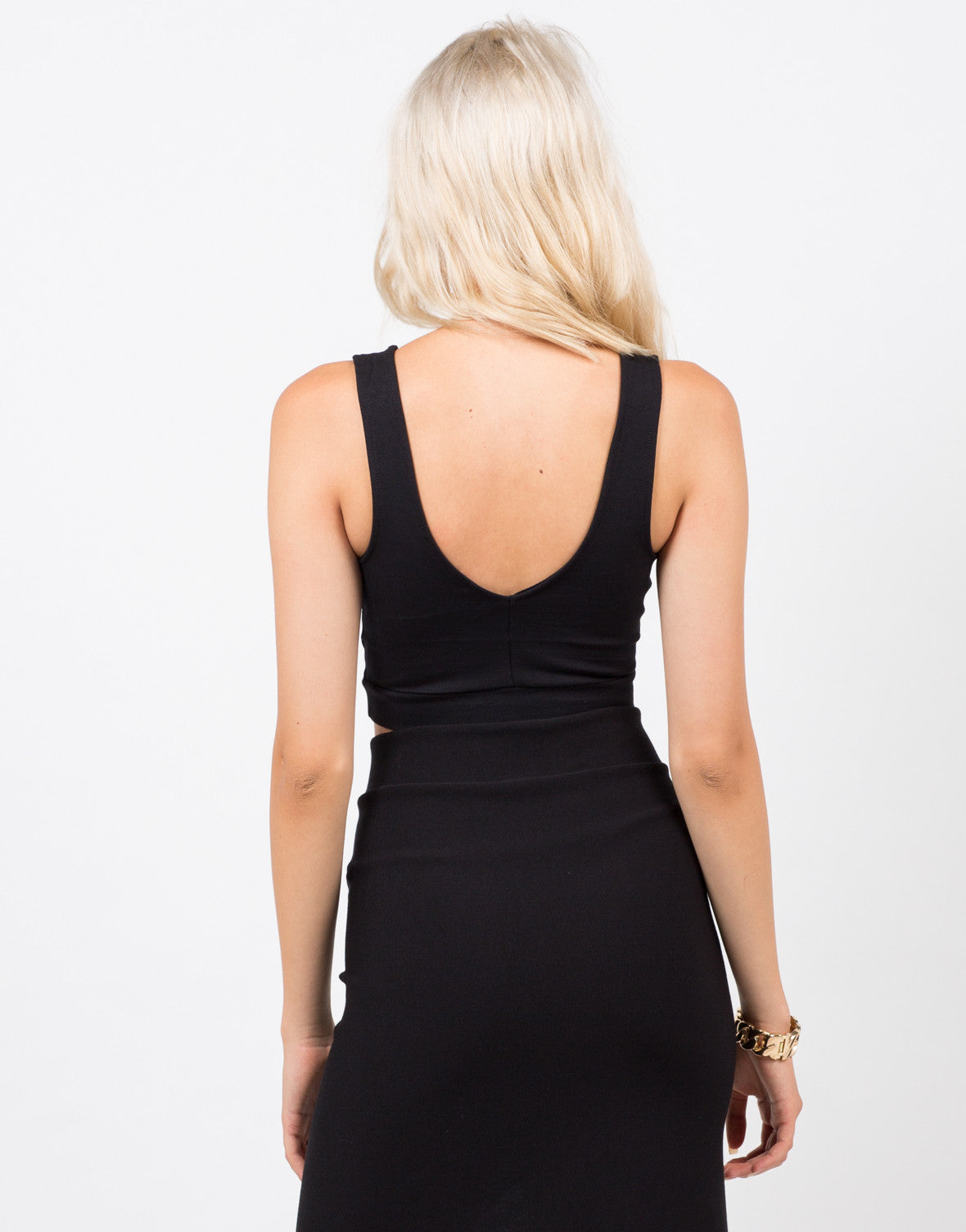Back View of Cut Out Crop Top
