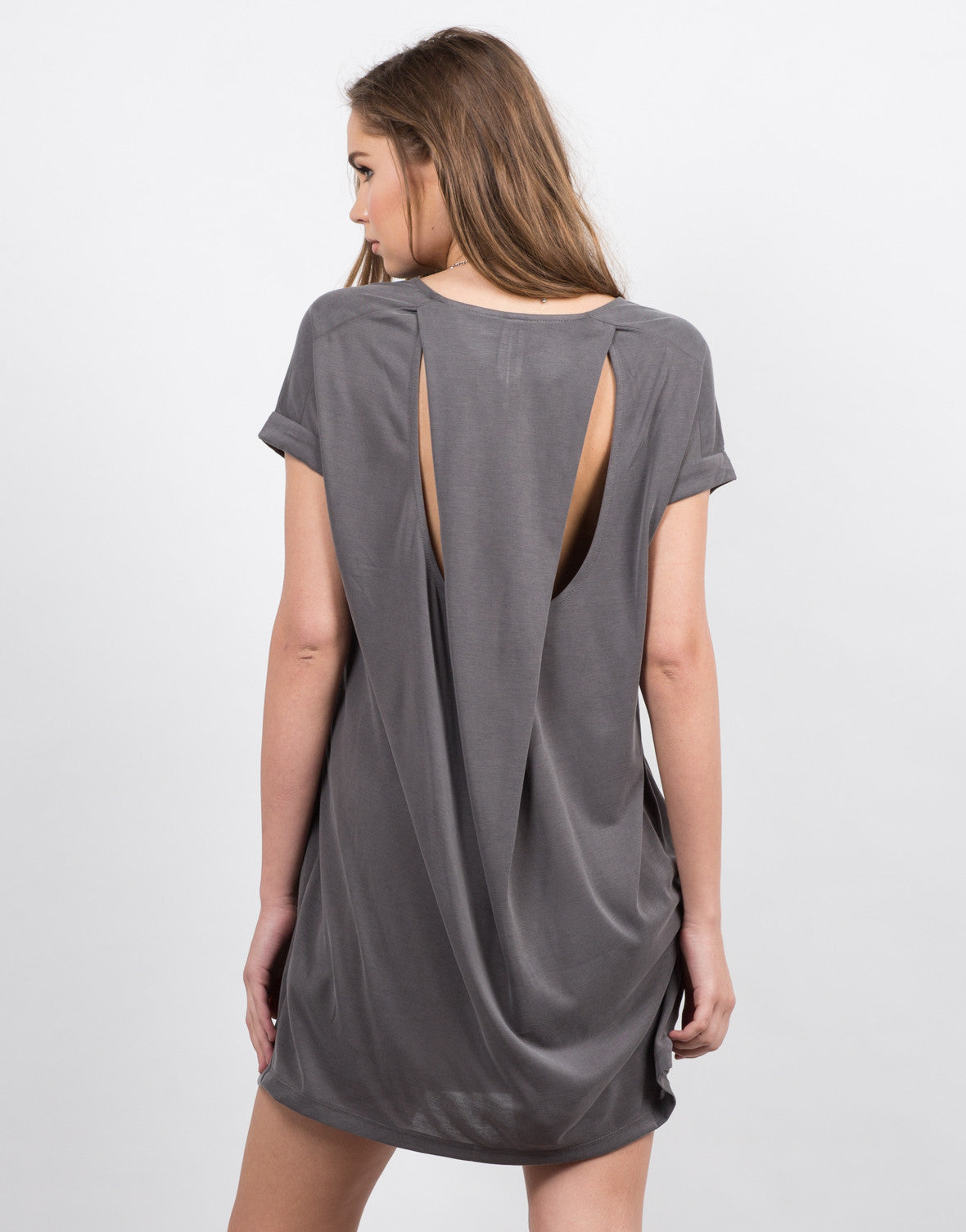 Back View of Cut Out Draped Tee Dress