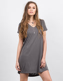Front View of Cut Out Draped Tee Dress