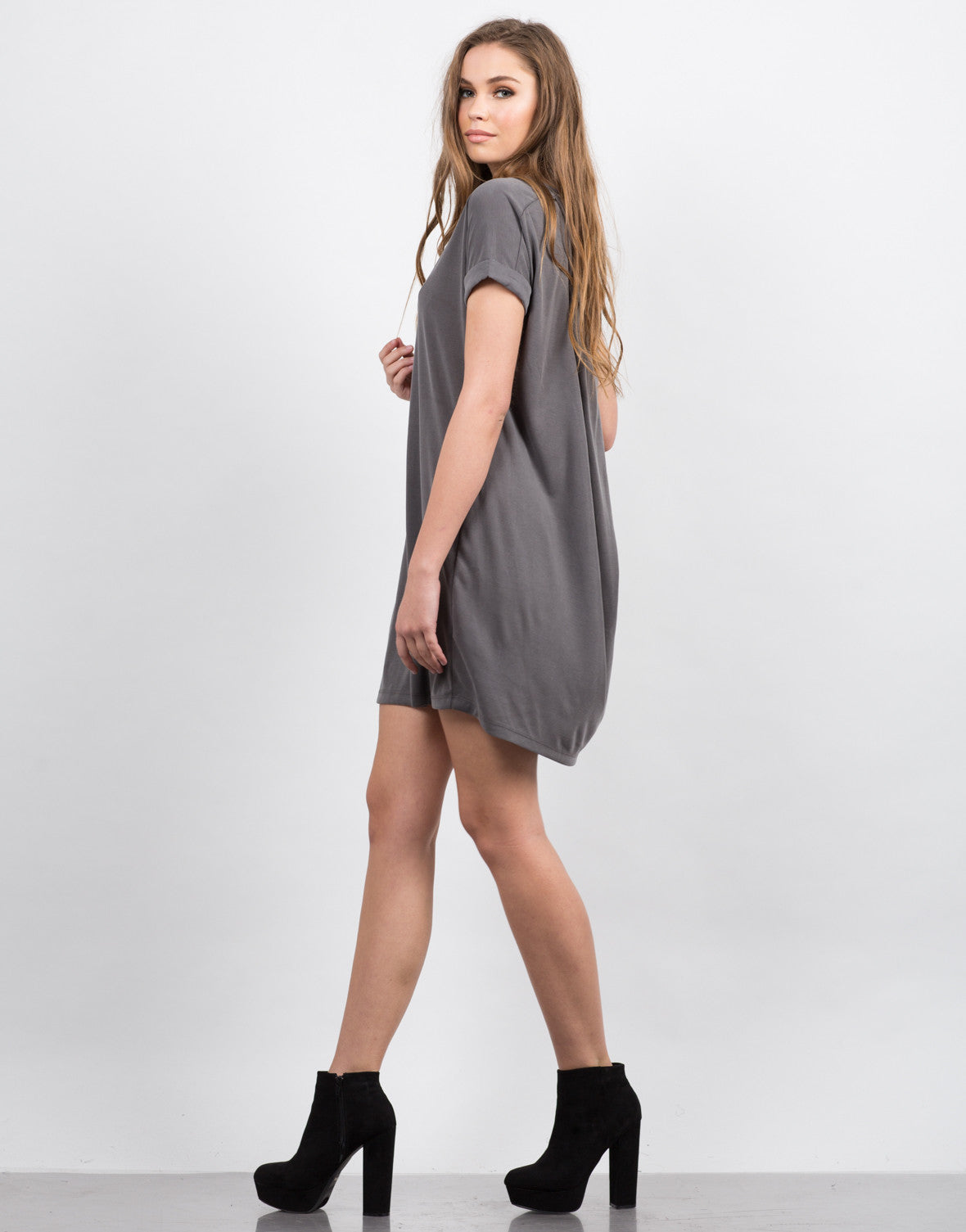 Side View of Cut Out Draped Tee Dress