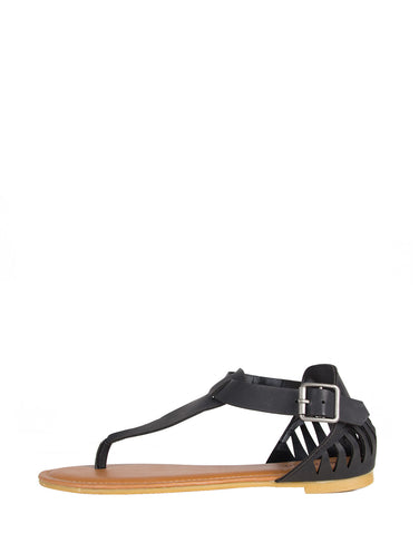 Cut Out Fang Sandals - Black Bamboo Laguna-45 Black