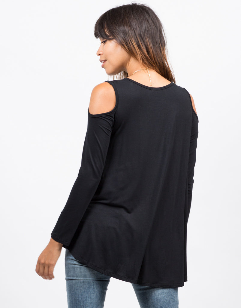 Cut Out Flowy Long Sleeve Top - 2020AVE