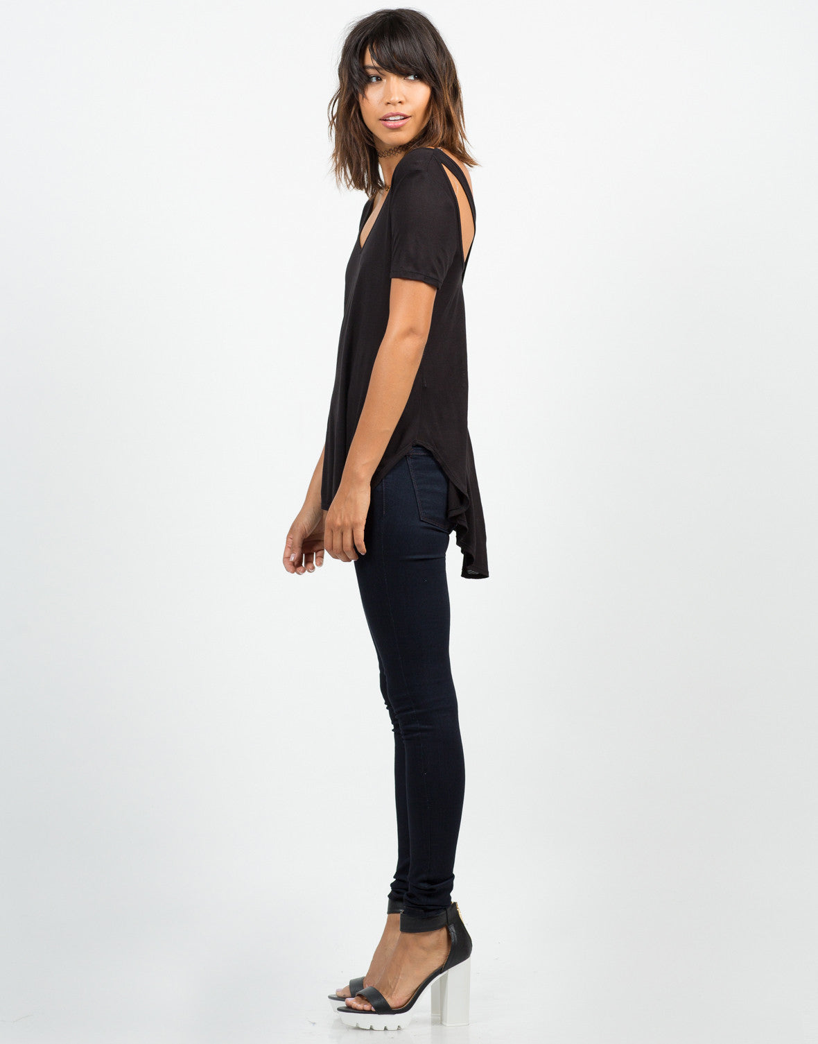 Side View of Cut Out Rayon Jersey Tee